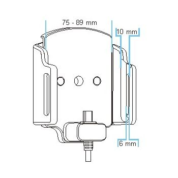 Brodit držák do auta na mobilní telefon nastavitelný se skrytým nabíjením š.75-89 mm, tl.6-10mm