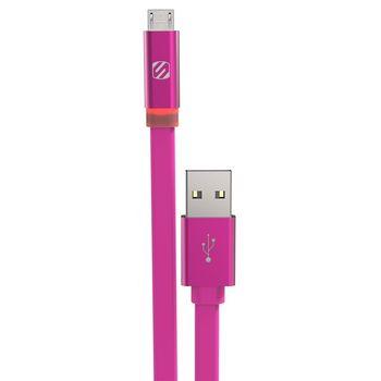 Scosche synchronizační a nabíjecí kabel LED s Micro USB konektorem, 90cm, růžový