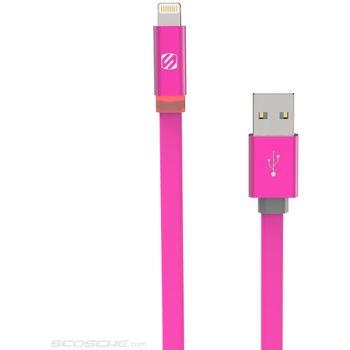 Scosche synchronizační a nabíjecí kabel LED s Lightning konektorem, 180cm, růžový