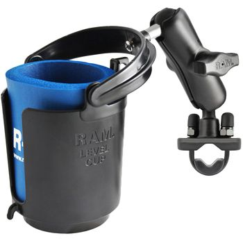 RAM Mounts držák kelímku nebo lahve s objímkou na řídítka kola nebo motoroky nebo trubku o Ø 12,7-25,4 mm, RAM-B-132RU