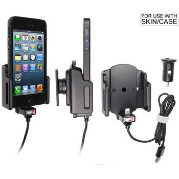 Brodit držák do auta na Apple iPhone 5/5S/5C/SE v pouzdru, nastavitelný,s nab. z cig. zapalovače/USB