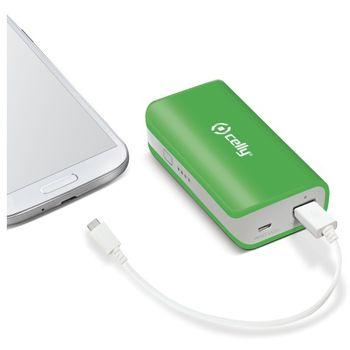 CELLY žáložní baterie s USB výstupem, microUSB kabelem a LED svítilnou, 4000 mAh, 1A, zelená