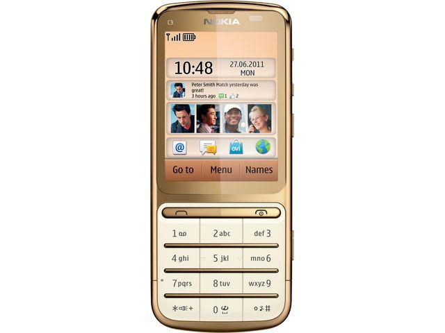 obsah balení Nokia C3–01 Gold + souprava příslušenství do auta Nokia