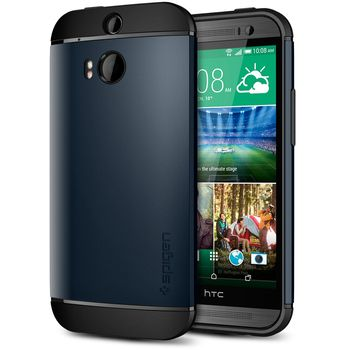 Spigen pevné pouzdro Slim Armor Metal slate pro HTC One M8, kovově modrá