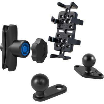 RAM Mounts univerzální držák na mobilní telefony, vysílačky, GPS navigace Finger-Grip s ramenem se zabezpečením na motorku na zpětné zrcátko s Ø do 11 mm, sestava RAM-B-179-UN4-KNOB3U