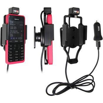 Brodit držák do auta na Nokia 301 bez pouzdra, s nabíjením z cig. zapalovače/USB
