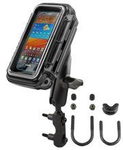 RAM Mounts vodotěsný držák na mobilní telefon na motorku na objímku brzdové/spojkové páky, AQUABOX™ střední, sestava RAM-B-174-AQ2U