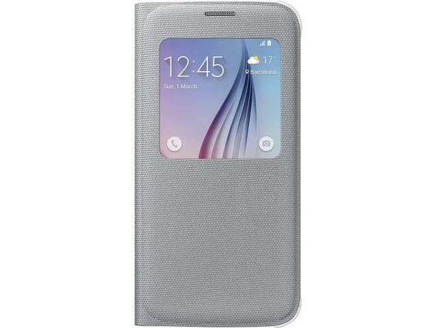 obsah balení Samsung flipové pouzdro S-View EF-CG920BS pro Galaxy S6, textilní, stříbrná