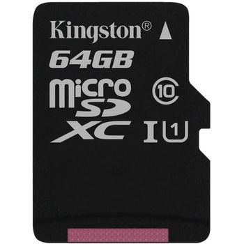 Kingston microSDXC 64GB Class 10/UHS-I, zápis 10MB/s + SD adaptér