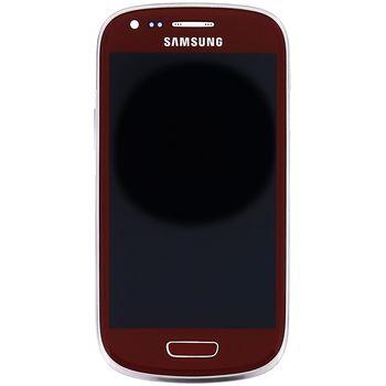 Náhradní díl LCD displej s dotyk vrstvou+ přední kryt pro Samsung i8200 Galaxy S III Mini VE červená