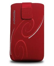Fixed pouzdro Velvet s motivem Red Spirals, velikost XL, červená
