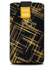 Fixed pouzdro Velvet s motivem Yellow Stripes, velikost L, žlutá