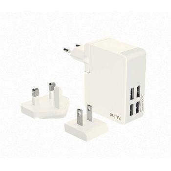 Leitz Complete cestovní USB nabíječka se 4 USB porty 24W, bílá