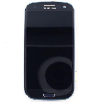 Náhradní díl LCD displej + dotyk + přední kryt pro Samsung i9300 Galaxy S III, modrý