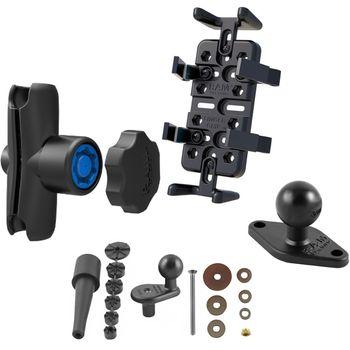 RAM Mounts univerzální držák na mobilní telefony, vysílačky, GPS navigace Finger-Grip s ramenem se zabezpečením na motorku na řídítka do středu vidlice, sestava RAM-B-176-UN4-KNOB3U